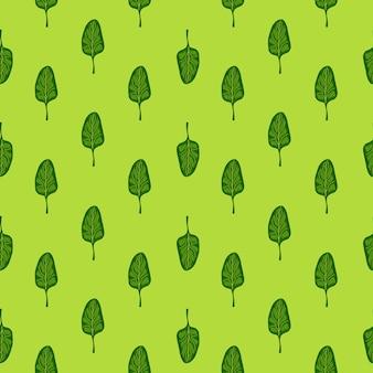 Jednolity wzór sałatka ze szpinaku na jasnym tle. minimalistyczny ornament z sałatą. geometryczny szablon roślinny do tkaniny. projekt ilustracji wektorowych.