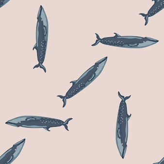Jednolity wzór sei wieloryb na beżowym tle. szablon postaci z kreskówek oceanu dla tkaniny. powtarzające się losowe tekstury z waleni morskich. projekt do dowolnych celów. ilustracja wektorowa