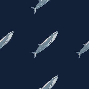 Jednolity wzór sei wieloryb na czarnym tle. szablon postaci z kreskówek z oceanu dla tkaniny.