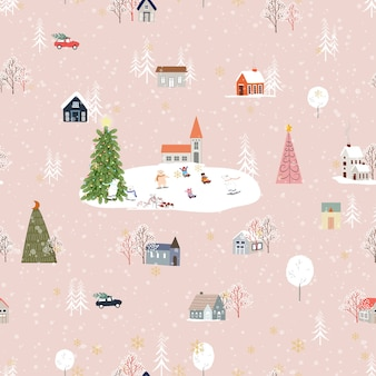 Jednolity wzór śliczny świąteczny krajobraz w mieście z bajkowymi domami, samochodem, niedźwiedziem polarnym grającym na łyżwach i choinkami, płaska konstrukcja vector panorama w miejscowości w wigilię bożego narodzenia