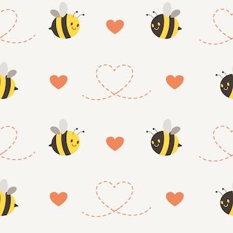 Jednolity wzór słodkie pszczoły z sercem i szczypta serca w stylu płaski
