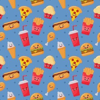 Jednolity wzór słodkie śmieszne fast foody kawaii stylu ikony na niebieskim tle