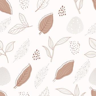 Jednolity wzór streszczenie botaniczny kwiatowy tropikalny liści styl szkic sztuka linii