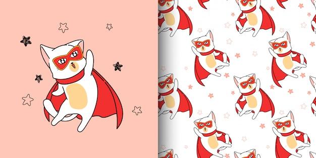 Jednolity wzór super bohater kot w stylu cartoon