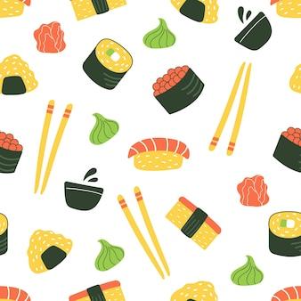 Jednolity wzór sushi japońskie jedzenie płaska ilustracja