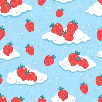 Jednolity wzór świeżych truskawek na chmurach.