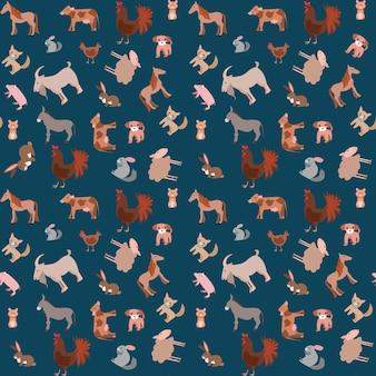 Jednolity wzór szczęśliwych zabawnych zwierząt domowych lub zwierząt gospodarskich w stylu płaski