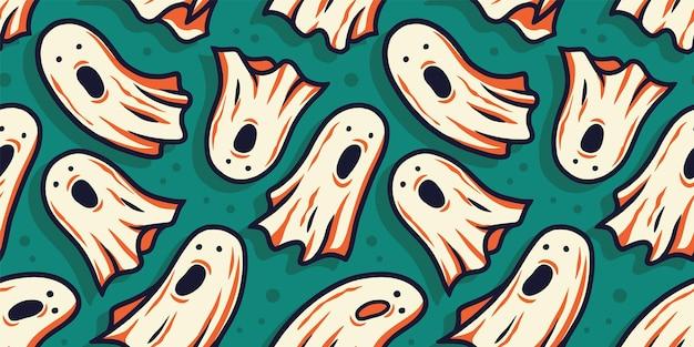 Jednolity wzór tapety z przerażającym okropnym duchem ducha i duszą na halloweenowy projekt świąteczny