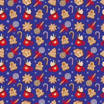 Jednolity wzór tradycyjnych deserów na obchody bożego narodzenia. ilustracja wektorowa