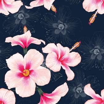 Jednolity wzór tropikalnej przyrody tło z ręcznie rysować kwiatowy
