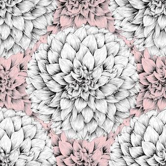 Jednolity wzór tropikalnej przyrody z ręcznie rysować kwiatowy