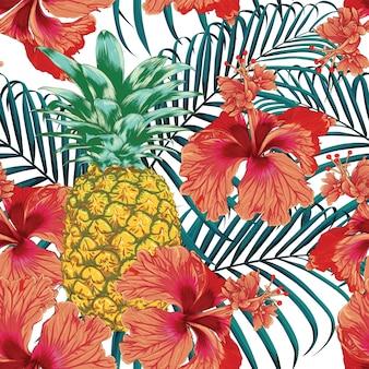 Jednolity wzór tropikalny lato z kwiatami hibiskusa ananas i palmy pozostawia streszczenie tło.