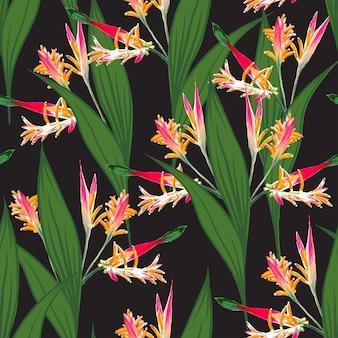 Jednolity wzór tropikalny z tle kwiatów rajskiego ptaka.