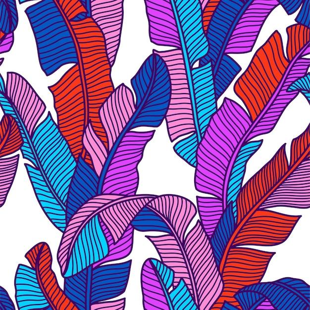 Jednolity wzór tropikalnych palm pozostawia egzotyczny kreatywny uniwersalny kwiatowy wzór na post