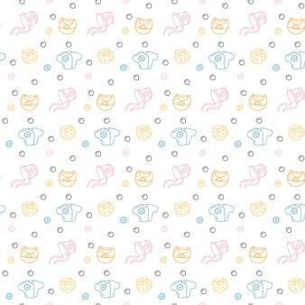 Jednolity wzór ubrania dla dzieci pastelowy kolor ilustracji wektorowych niemowlę ładny powtarzający się nadruk