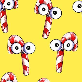 Jednolity wzór uroczych potworów świąteczne cukierki na żółtym tle fast food z oczami