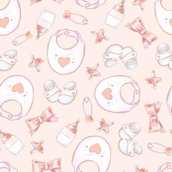Jednolity wzór urodziny noworodka baby shower.