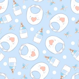 Jednolity wzór urodziny noworodka prysznic. rysunek odręczny
