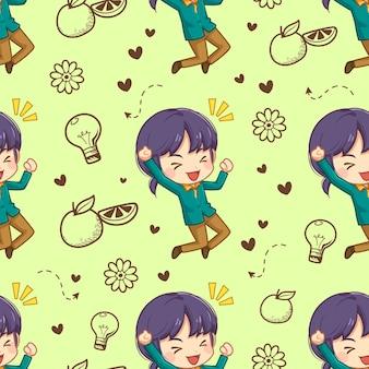 Jednolity wzór wesoła dziewczyna i doodle element ilustracja kreskówka