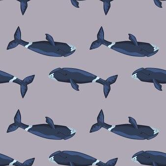 Jednolity wzór wieloryb grenlandzki na szarym tle. szablon postaci z kreskówek z oceanu dla dzieci. powtarzająca się tekstura z morskim waleni. projektuj do dowolnych celów. ilustracja wektorowa.