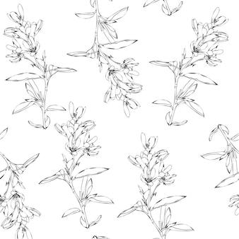 Jednolity wzór wiosennych i letnich kwiatów. ręcznie rysowane polne kwiaty. grafika liniowa
