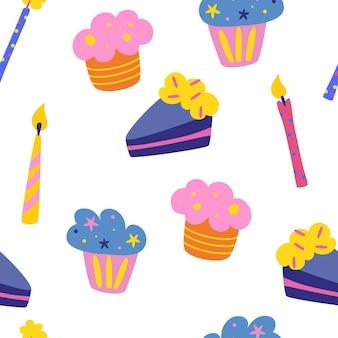 Jednolity wzór z ciastami i świeczkami śliczny nadruk urodzinowy artykuły dekoracyjne na przyjęcie i urodziny