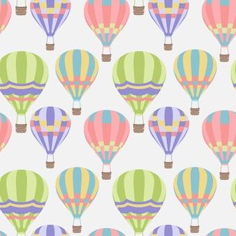Jednolity wzór z jasnymi balonami na ogrzane powietrze w nowoczesnym stylu abstrakcyjny wzór wektorowy