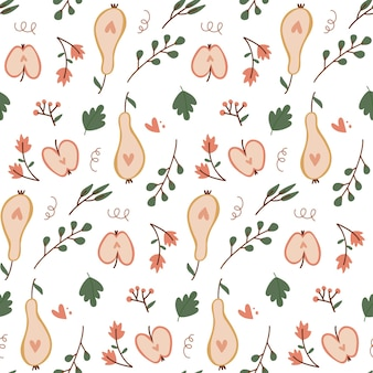 Jednolity wzór z jesiennymi owocami pokrojonymi jabłkami i gruszkami ręcznie rysowane płaski element projektu w stylu...
