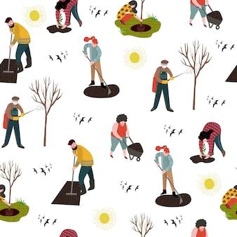 Jednolity wzór z ludźmi pracującymi w ogrodzie nad sadzeniem, zagospodarowaniem terenu i leczeniem drzew przed szkodnikami.