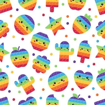 Jednolity wzór z modnymi zabawkami pop it z kawaii twarzami
