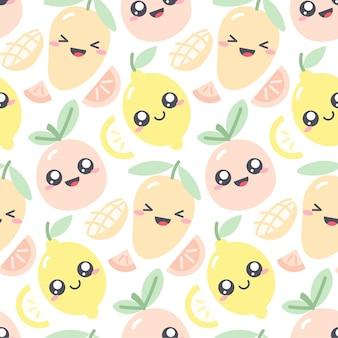 Jednolity wzór z owocami kawaii w pastelowych kolorach. zabawna ilustracja z uroczymi postaciami owoców dla ubrań dla dzieci. rysowanie mango; cytryna i grejpfrut
