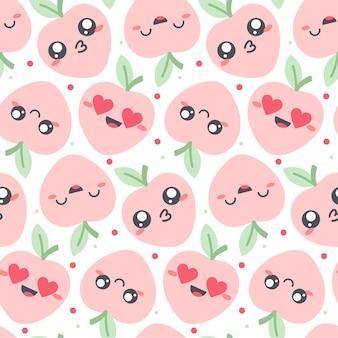 Jednolity wzór z owocami kawaii w pastelowych kolorach. zabawna ilustracja z uroczymi postaciami owoców dla ubrań dla dzieci.