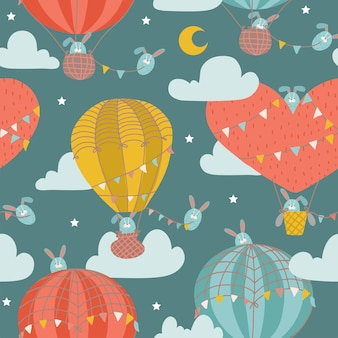 Jednolity wzór z uroczym króliczkiem w balonie na ogrzane powietrze dziecinne zwierzę na rozgwieżdżonym fantastycznym niebie z ...