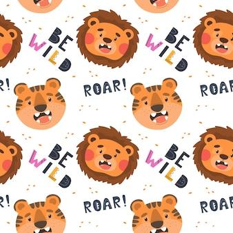 Jednolity wzór z uroczym lwem i tygrysem oraz hasłem roar be wild