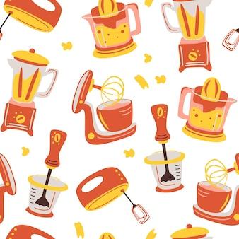 Jednolity wzór z urządzeniami kuchennymi narzędzia do gotowania w gospodarstwie domowym mikser sokowirówka blender