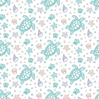 Jednolity wzór z żółwiami muszlami, rozgwiazdami i perłami
