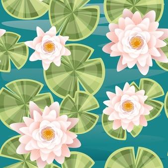 Jednolity wzór zestaw części lotosu lilii płaskie wektor ilustracja na tle niebieskiej wody.