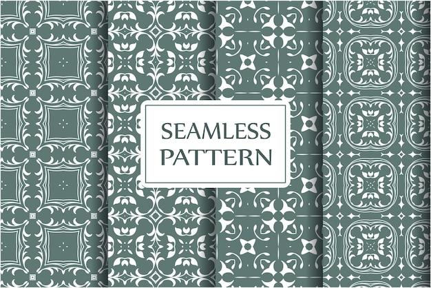 Jednolity wzór zestaw do tapet, tekstyliów, zawijania. wykwintny kwiatowy barokowy szablon