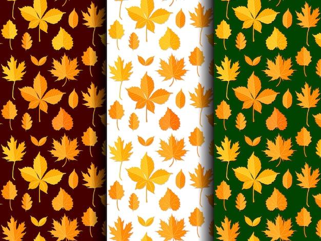 Jednolity wzór zestaw jesiennych liści wektor