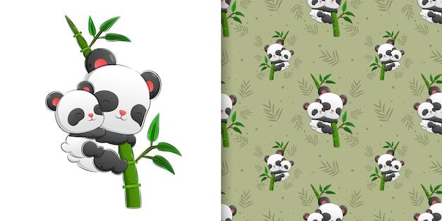 Jednolity wzór zestaw pandy niesie dziecko i trzyma bambus ilustracji