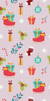 Jednolity wzór zestawu motywów świątecznych. wzór sań i pudełka prezentowego oraz liścia i zestawu ostrokrzewu. wzór ładny pudełko i sanie holly liść w stylu płaski wektor.