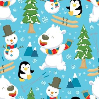 Jednolity wzór zimowej kreskówki tematu z niedźwiedziem polarnym i pingwinem