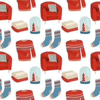 Jednolity wzór zimowych przytulnych obiektów w stylu skandynawskim, elementy w stylu hygge