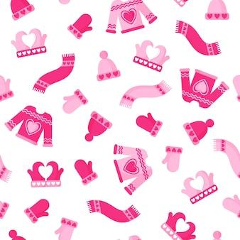 Jednolity wzór zimowych przytulnych ubrań, czapki, swetra, szalika, rękawiczek