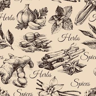 Jednolity wzór ziół i przypraw kuchennych. ręcznie rysowane ilustracje szkicu