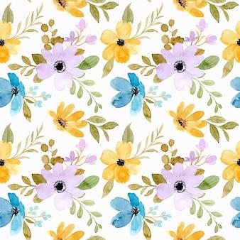 Jednolity wzór żółtego fioletowego kwiatu z akwarelą