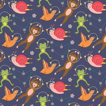 Jednolity wzór zwierząt astronauci ślimak żaba małpa