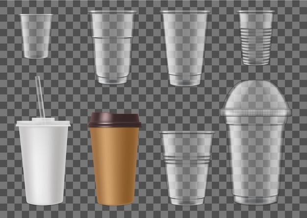 Jednorazowe plastikowe kubki do napojów w kawiarniach typu fast food. puste pojemniki kartonowe i plastikowe