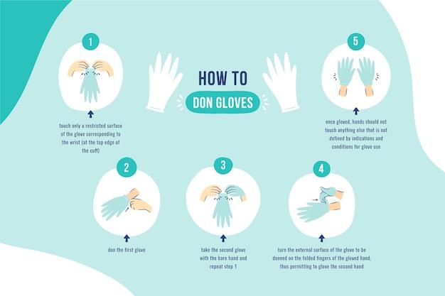 Jednorazowe rękawiczki zakładanie infographic