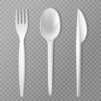 Jednorazowe widelec, nóż i łyżka. realistyczne plastikowe naczynie kuchenne, zestaw do serwowania.